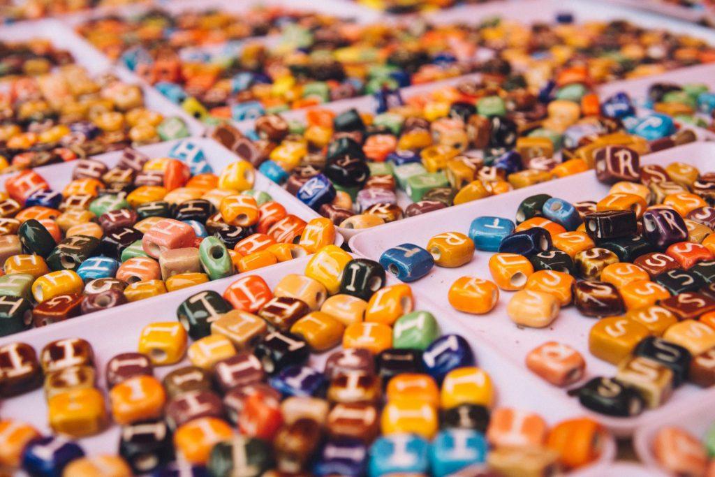 Alphabet Beads in Trays